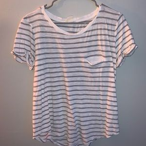 white and grey striped shirt